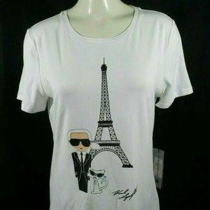 Karl Lagerfeld Eiffel Tower & Cat Womens tshirt